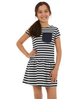 Dziewczęca sukienka w paski 116-158 KRP60 biel plus granat