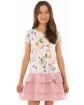 Sukienka w kwiatki z falbankami 116-158 KRP332 róż plus ecru