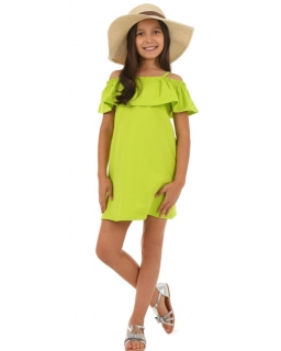 Sukienka hiszpanka dla dziewczynki 116-158 KRP46 limonka