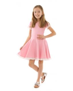 Sukienka szyta z koła 116-158 KRP333 róż