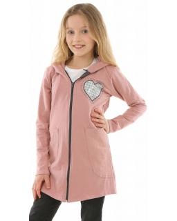 Długa bluza na zamek z sercem holo 128-158 KRP334 róż