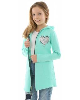 Długa bluza na zamek z sercem holo 128-158 KRP334 mięta