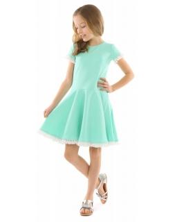 Dziewczęca sukienka na co dzień 116-158 KRP333 miętowa 1