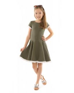 Dziewczęca sukienka na co dzień 116-158 KRP333 khaki 1