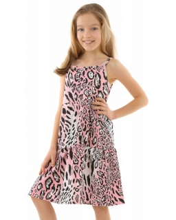 Sukienka na lato boho w groszki 116-158 KRP335 czarny