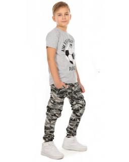 Chłopięce spodnie w stylu baggy 116-158 KRP288 szare 1