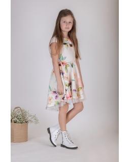 Asymetryczna sukienka w kwiaty 128-158 P-183
