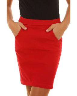 Ołówkowa spódniczka z kieszeniami 134-158 KRP171 czerwona