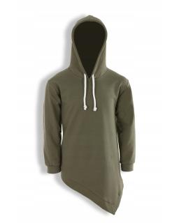 Asymetryczna bluza z kapturem 128-158 KRP345 khaki