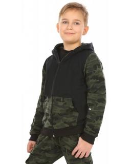 Chłopięca bluza z kapturem moro 116-158 KRP348 czarno-zielony
