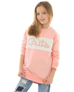 Dłuższa bluza z futerkiem CUTE 128-164 KRP349 łosoś