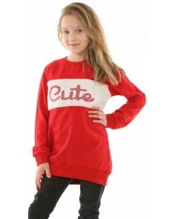 Dłuższa bluza z futerkiem CUTE 128-164 KRP349 czerwona