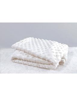 Bąbelkowy biały ciepły kocyk do chrztu, łóżeczka lub wózka KOC-3