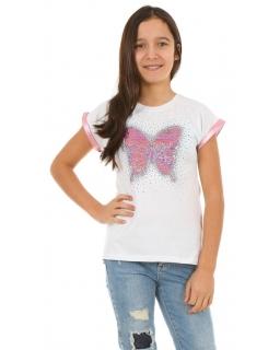 Bluzka z motylem i magiczne cekiny 128-158 KRP350 biała