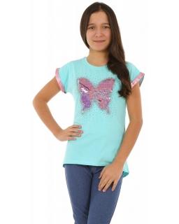 Bluzka z motylem i magiczne cekiny 128-158 KRP350 mięta