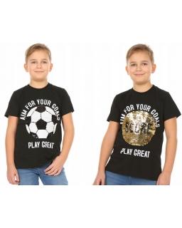 Koszulka dla chłopca piłka z cekinami 128 - 158 KRP351 czarna