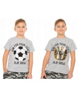 Koszulka dla chłopca piłka z cekinami 128 - 158 KRP351 szara