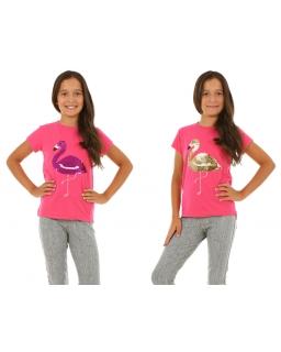 T-shirt dla dziewczynki z cekinowym flamingiem 128-152 KRP352 fuksja