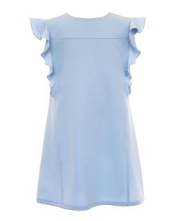 Trapezowa sukienka z falbanką dla dziewczynki 134-170 31C/SM/20 niebieska