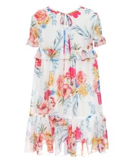 Szyfonowa sukienka w kwiaty dla dziewczynki 128-164 41B/SM/20 mix