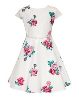 Elegancka sukienka w drukowane róże 134-164 36B/SM/20 ecru