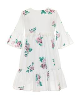 Zwiewna sukienka w róże w stylu boho 122-152 37A/SM/20 ecru