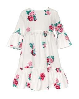 Zwiewna sukienka w róże w stylu boho 122-152 37B/SM/20 ecru
