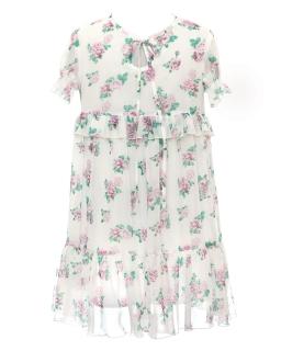 Zwiewna sukienka w róże z falbankami 128-164 38A/SM/20 ecru