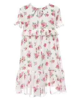 Zwiewna sukienka w róże z falbankami 128-164 38B/SM/20 ecru