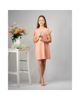 Trapezowa sukienka z falbanką 122-152 Paula łososiowa