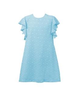 Trapezowa sukienka z falbanką 122-152 Paula turkusowa