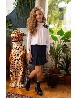 Elegancka bluzka z długim rękawkiem 140-170 114/S/20 biała