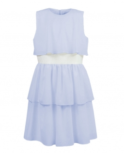 Zwiewna sukienka z falbanami 140-164 Celia niebieska