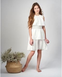 Pokomunijna sukienka z falbanami 140-164 Celia kremowa