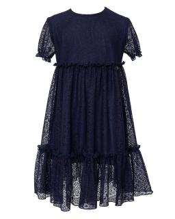 Sukienka dziewczęca z granatowej koronki 128-170 210/S/20 granatowa