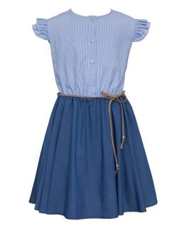 Dziewczęca bawełniana sukienka na lato 134-164 0SS-03 niebieska