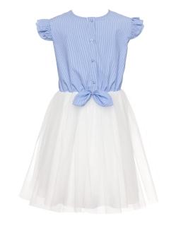 Dziewczęca sukienka na lato z tiulem 134-164 0SS-02 niebieska