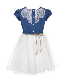 Dziewczęca sukienka na lato z gipiurą 128-158 0SS-01A niebieska