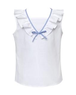Letnia bluzeczka z falbanką dla dziewczynki 128-158 0SS-08 biała