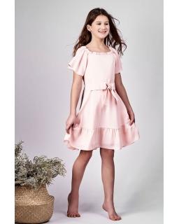 Elegancka sukienka hiszpanka 128-152-152XL Aurora różowa