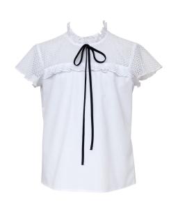 Bluzka z koronkowym karczkiem 134-158 116/S/20 biała