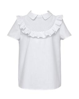 Szkolna bluzeczka przyozdobiona falbanką 128-158 135/S/20 biała