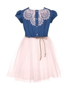 Dziewczęca sukienka na lato z różową gipiurą 128-158 0SS-01B róż