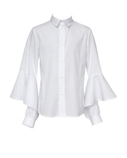Bluzka z długim falbaniastym rękawkiem 134-164 111/S/20 biała