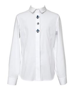Biała koszula z długimi rękawami dla dziewczynki 140-170 109/S/20