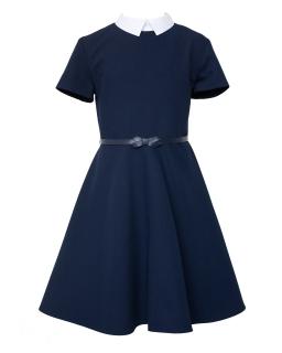 Szkolna sukienka z białym kołnierzykiem 128-164 208/S/20 granat