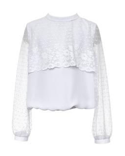 Elegancka bluzka z koronką dla dziewczynki 134-170 104/S/20 biała 1