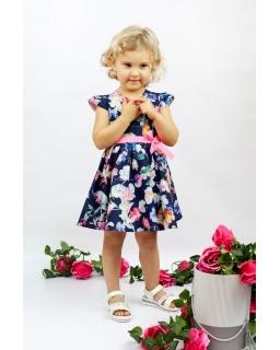 Urocza sukienka w kwiaty dla dziewczynki 86-116 Nikola granatowa