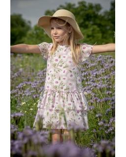 Zwiewna sukienka na lato z falbankami 128-158 P-178 róż
