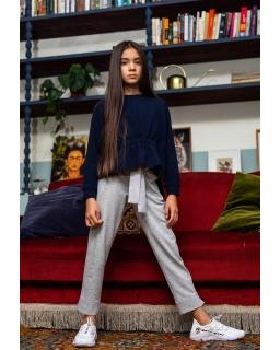 Stylowe bawełniane spodnie dziewczęce 128-164 407C/S/20 szare 1